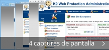 Collage de pantallazos de K9 Web Protection